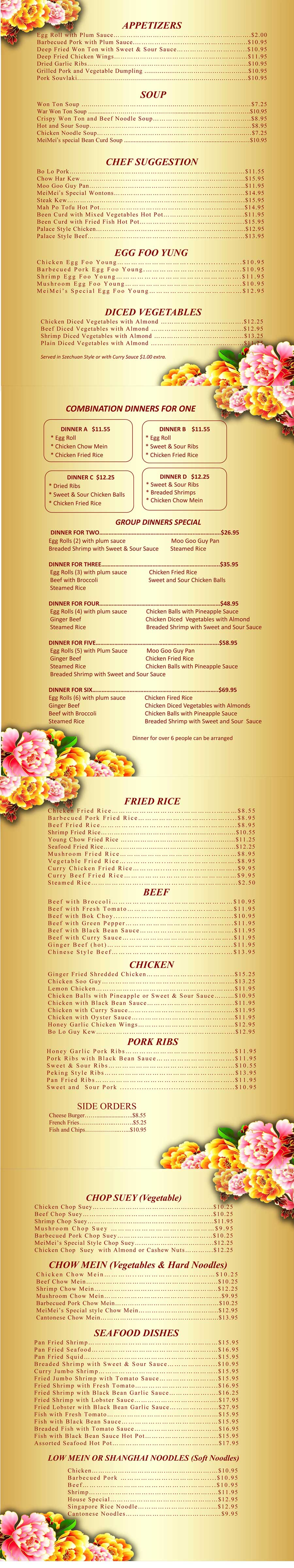 MeiMei Chinese Restaurant menu